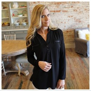 Black Zipper Pocket Tunic